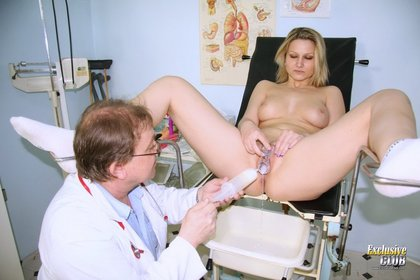 Blond Zaneta Shaved Vagina Examined by Nurse practitioner plus Milky Gloves