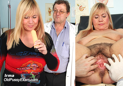 Bushy Pussy Lady Irma Poses in Gyno Clinic Checkup