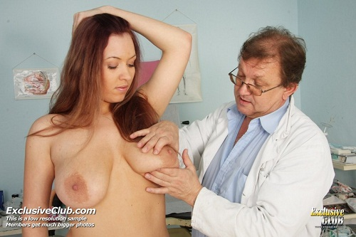 Busty Andrea Getting Her Pussy Checked