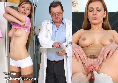 Doctor gyno fingers hot blonde babe with gloved hands
