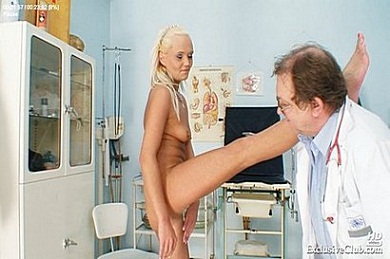 Hot blonde gets a rectal thermometer in her ass