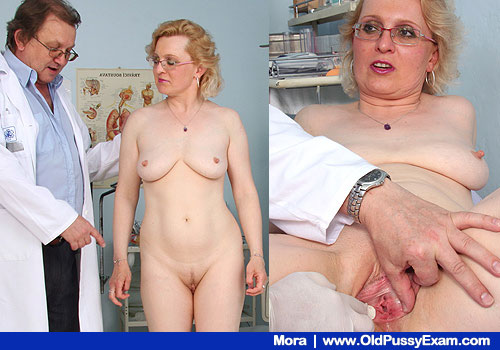 Aged older vagina examination at OldPussyExam.com