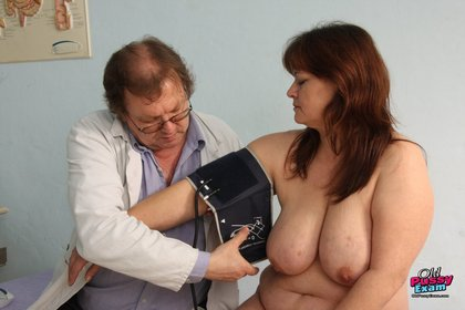 Mature BBW Redhead Gets Pulse Measured and Pussy Examined