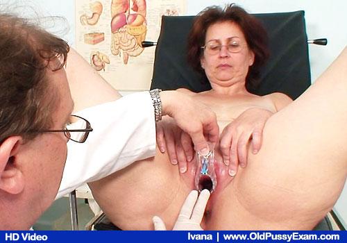 Older Brunette Ivana Gets Cunt Stretch in Gyno Checkup