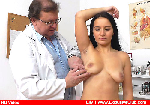 The clinician inspects Lily's body