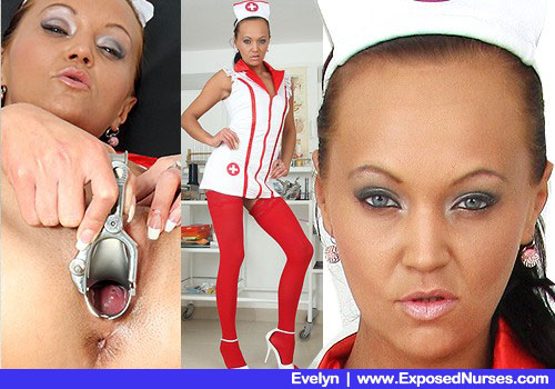 Thin Woman in Nurse Uniform, Red Stockings and High Heels